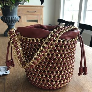 Free People NWT Woven Chain Bucket Purse